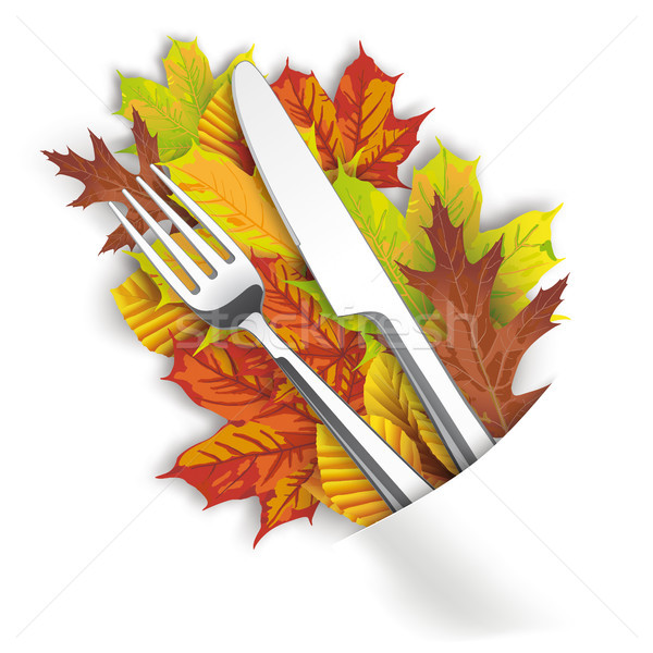 Convert Napkin Autumn Foliage Knife Fork Stock photo © limbi007