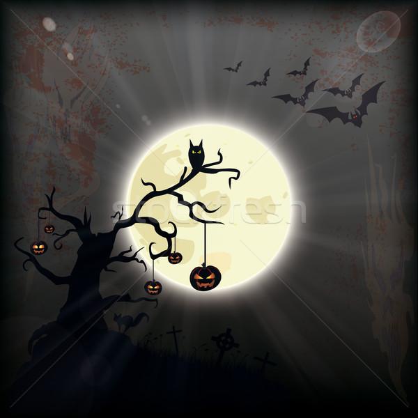 Halloween Full Moon Bats Cemetery Pumpkins Stock photo © limbi007