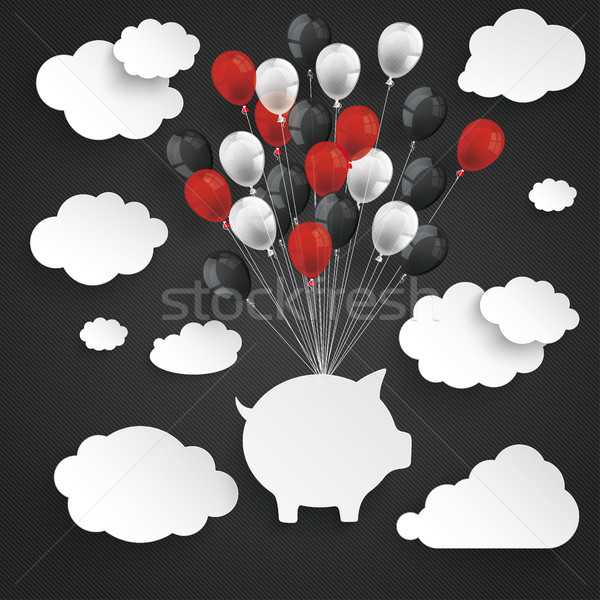 Paper Clouds Striped Dark Sky Balloons Piggy Bank Stock photo © limbi007