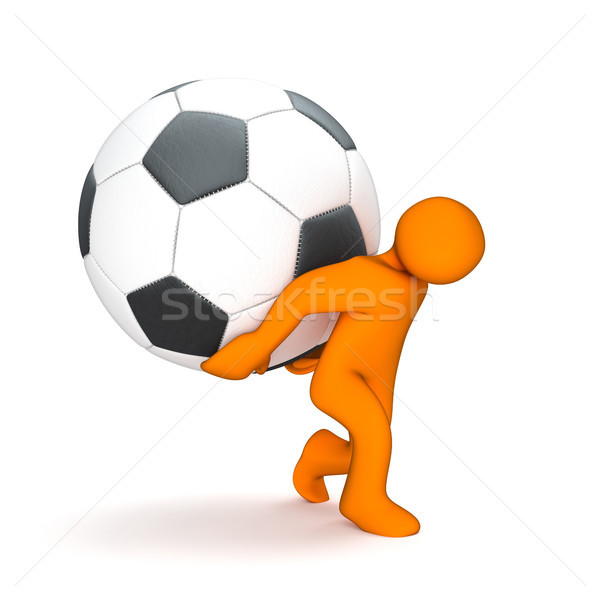 Orange Manikin With Big Classic Football Stock photo © limbi007