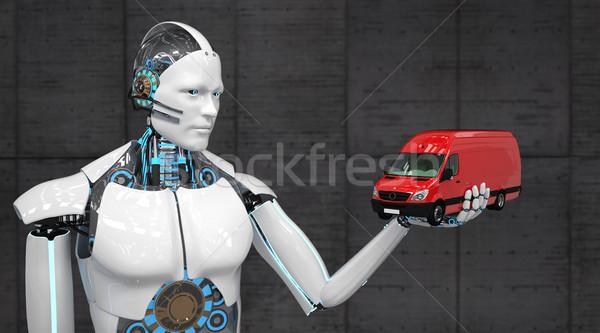 Fehér robot piros kisteherautó 3d illusztráció forgalom Stock fotó © limbi007