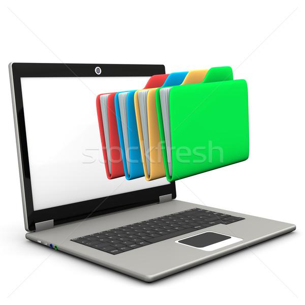 Mappák notebook tarka fehér internet laptop Stock fotó © limbi007