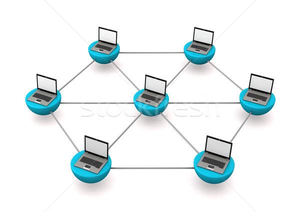 Mobil jegyzetfüzetek hálózat laptopok fehér üzlet Stock fotó © limbi007