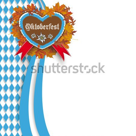 Bavarian Oktoberfest Flyer Oblong Lebkuchen Heart Stock photo © limbi007