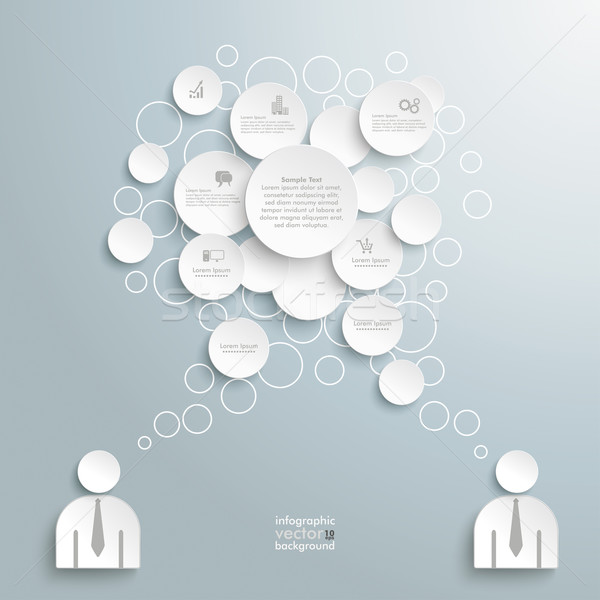 Stockfoto: Witte · tekstballon · cirkels · zakenlieden · grijs · eps