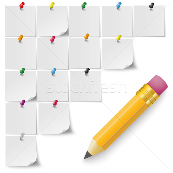 Grey Stickers Colored Pins Pencil Stock photo © limbi007