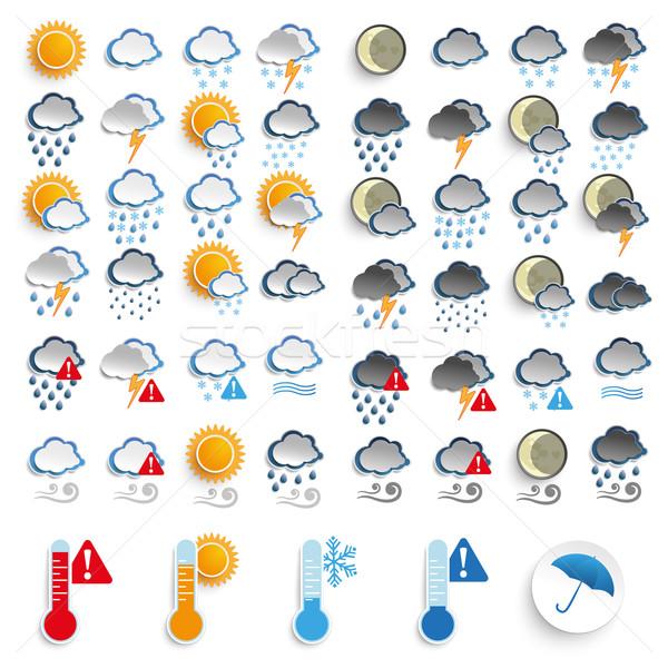 Big Icons Set Day and Night Weather Stock photo © limbi007
