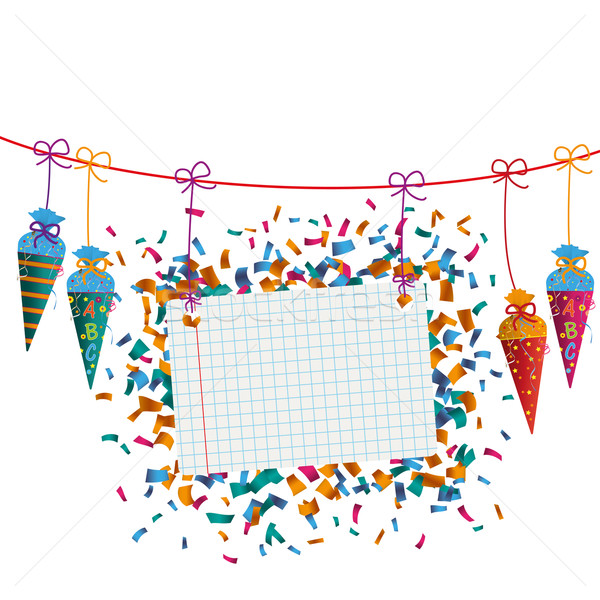 Hanging Candy Cones Line Checked Banner Confetti Stock photo © limbi007