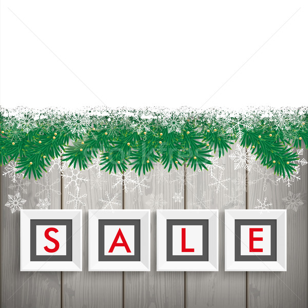 Christmas Sale Frames Snow Twigs Wood Stock photo © limbi007