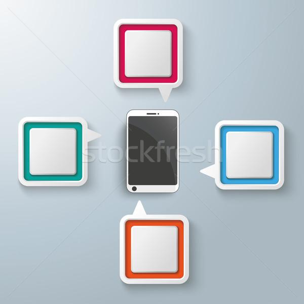 Zdjęcia stock: Prostokąt · centrum · smartphone · cztery · kolorowy