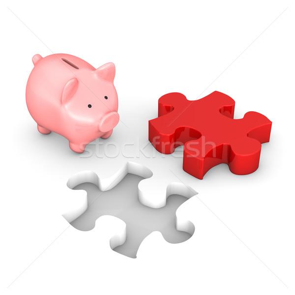 Foto stock: Piggy · bank · vermelho · quebra-cabeça · branco · negócio · idéia
