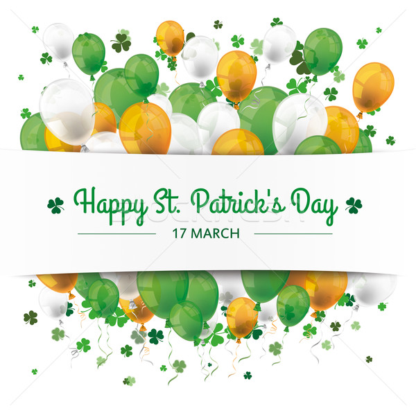 St. Patrick's Day Banner Balloons Shamrocks Stock photo © limbi007