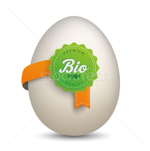 Tojás bio címke fehér eps 10 Stock fotó © limbi007