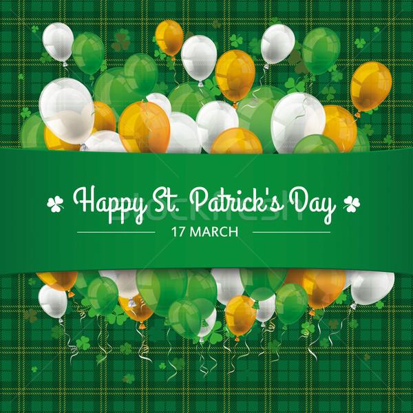St Patricks Day Tartan Banner Balloons Cloverleafs Stock photo © limbi007