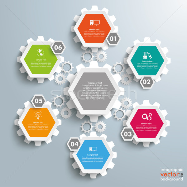 6 Colored Hexagons Background Halftone Cylce Gears Stock photo © limbi007