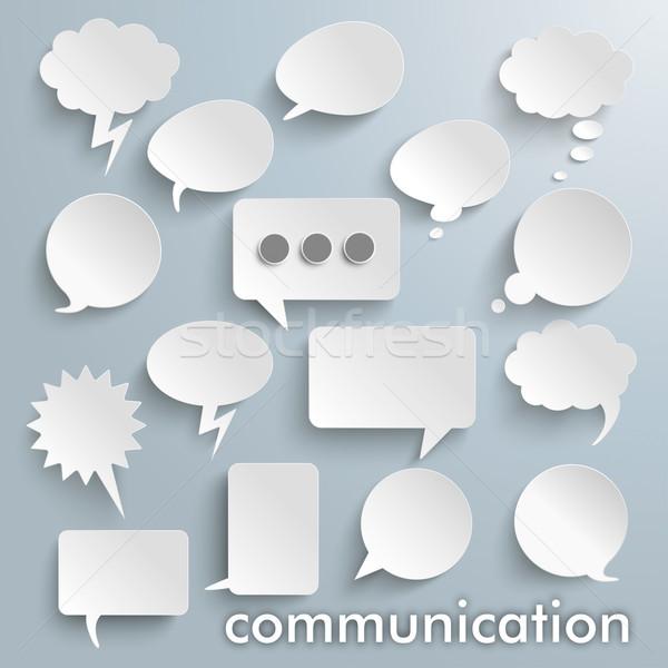 Communication Paper Speech Bubbles Set Stock photo © limbi007