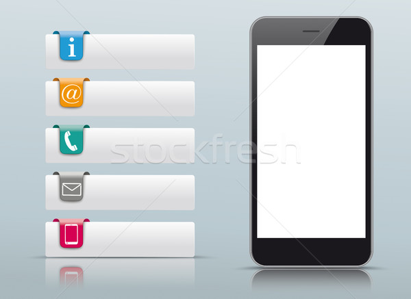 5 Colored Contact Icons Tabs Smartphone Stock photo © limbi007