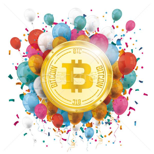 Zdjęcia stock: Złoty · bitcoin · balony · konfetti · kolorowy · eps