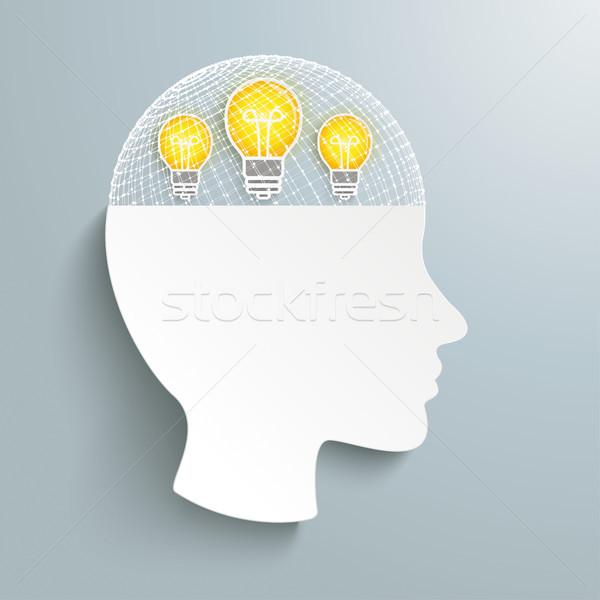 人間 頭 グリッド 3D アイデア グレー ストックフォト © limbi007