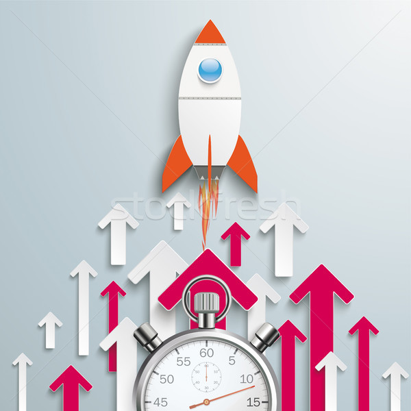 Arrows Up White Pink Centre Rocket Stopwatch Stock photo © limbi007