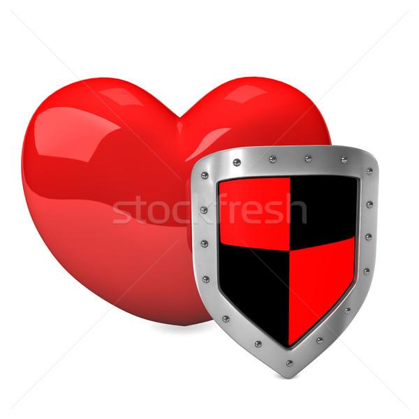 Red Heart Shield Stock photo © limbi007