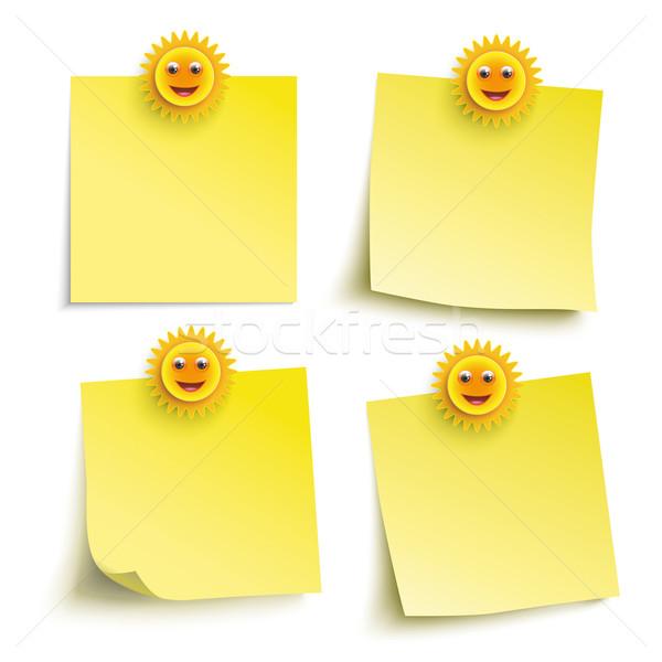 Yellow Sticks 4 Smiling Suns Stock photo © limbi007