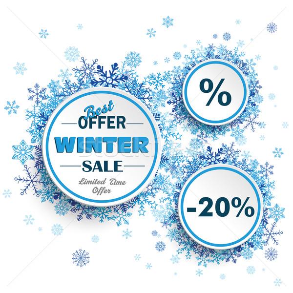 White Circles Winter Sale Blue Snowflakes Stock photo © limbi007