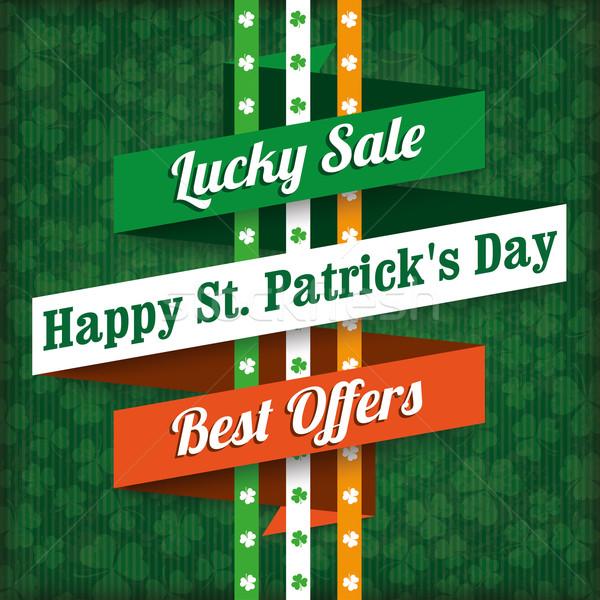 St. Patricks Day Vintage Sale Ribbon Stock photo © limbi007