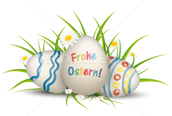 3 Easter Egss Grass Flowers Frohe Ostern Stock photo © limbi007