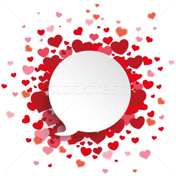 White Speech Bubble Red Hearts Stock photo © limbi007