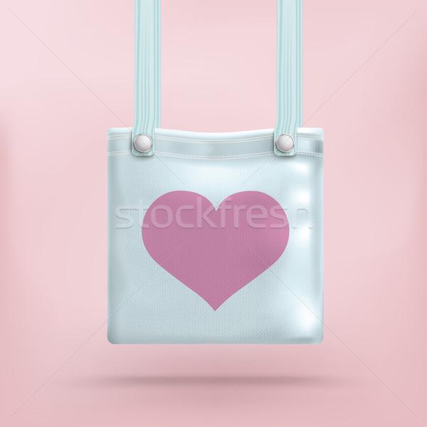 Pénztárca táska rózsaszín szív azúr kék Stock fotó © limbi007