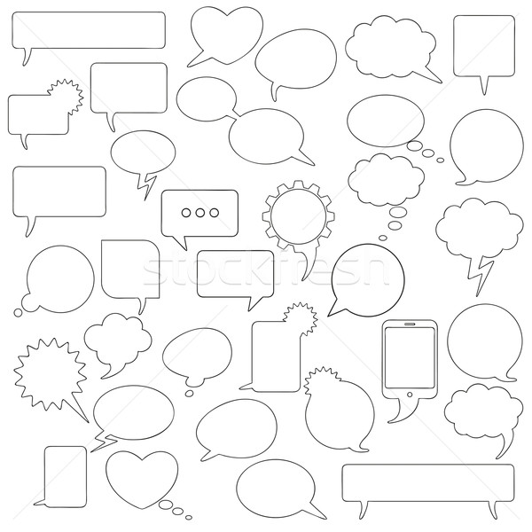 Communication Black Speech Bubbles Set Stock photo © limbi007