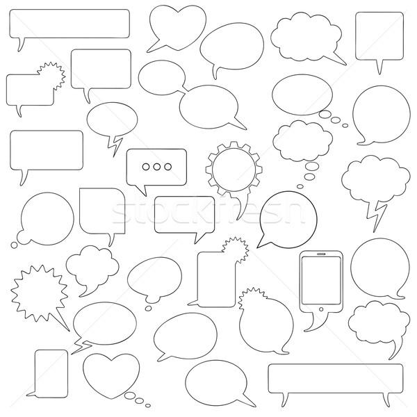 Kommunikáció fekete szövegbuborékok szett formák buborékok Stock fotó © limbi007