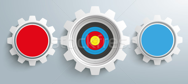 3 Colored Gears Target Infographic Header Stock photo © limbi007