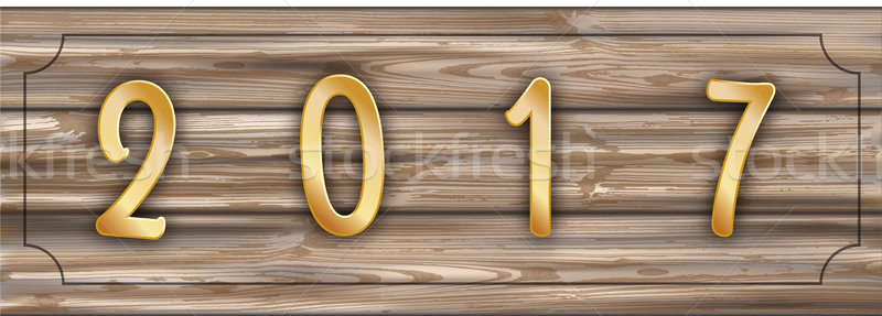 Worn Wooden Plank Golden 2017 Header Frame Stock photo © limbi007