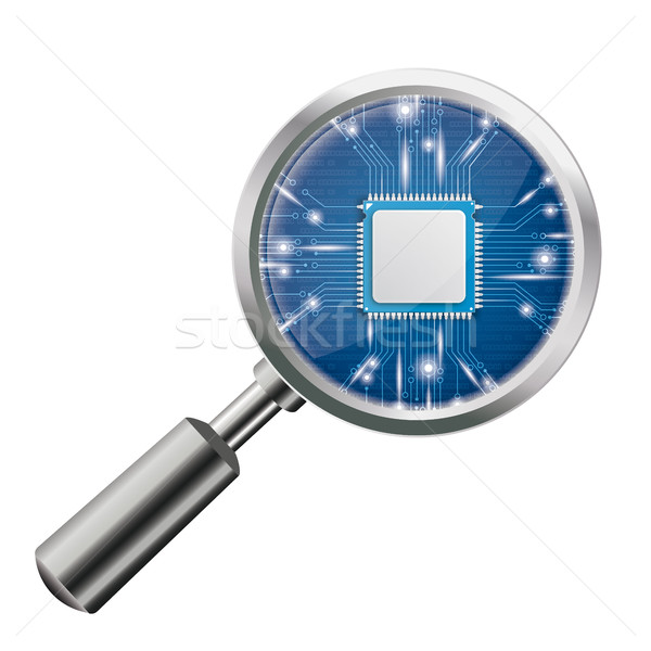 Loupe Blue Microchip Stock photo © limbi007