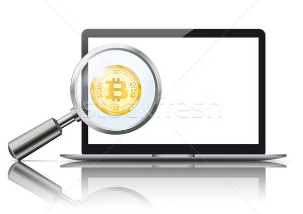 Portable bitcoin miroir blanche Photo stock © limbi007