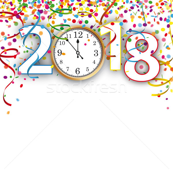 Clock 2018 Silvester Confetti Ribbons Stock photo © limbi007