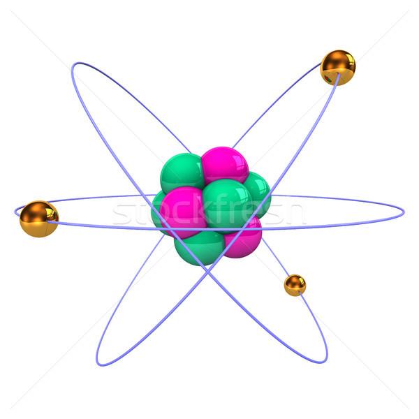 Atom złoty fioletowy zielone edukacji badania Zdjęcia stock © limbi007