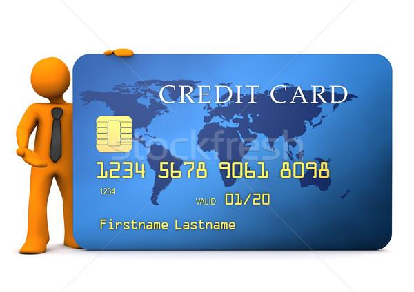 Stock fotó: üzletember · hitelkártya · kék · fehér · férfi · vásárlás