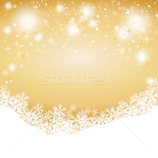 Snow And Stars Golden Background Stock photo © limbi007