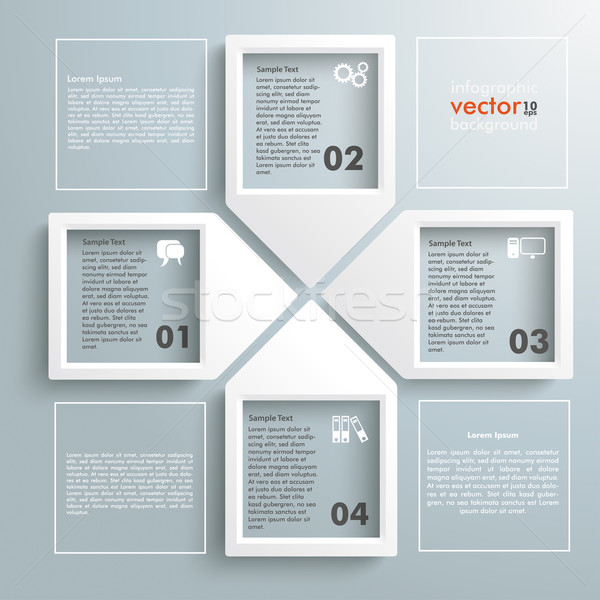 Paper Infographic Arrowframes Cross 4 Squares Stock photo © limbi007