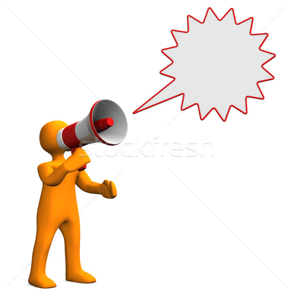 Manikin Bullhorn Speech Bubble Stock photo © limbi007