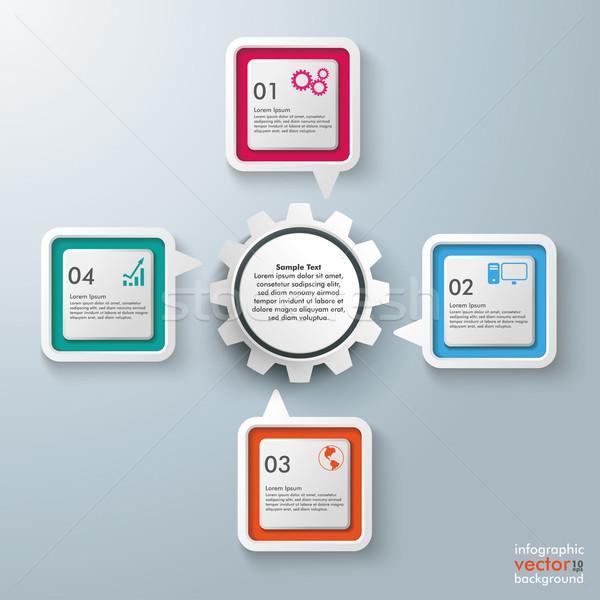 Stock photo: Rectangle Speech Bubbles Centre Gear