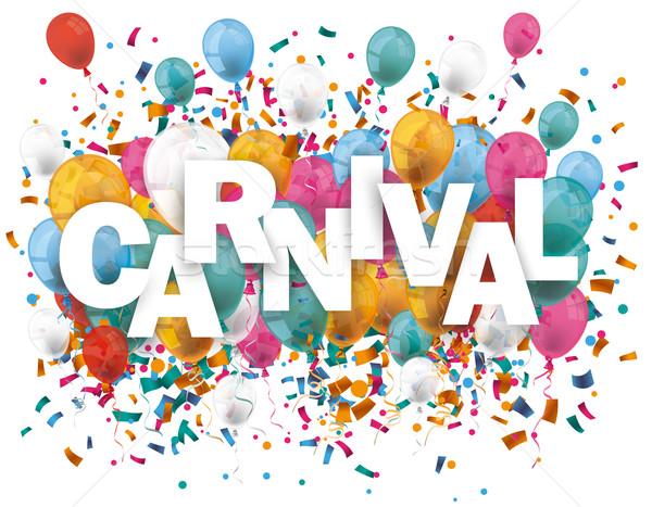 Carnaval ballonnen confetti tekst eps 10 Stockfoto © limbi007