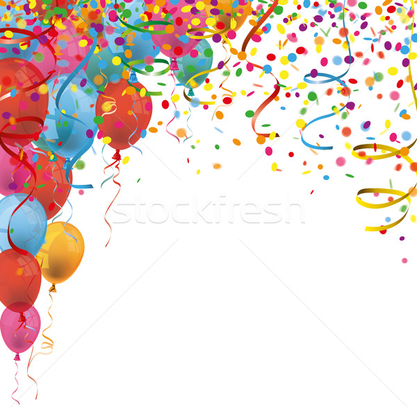 Carnival Confetti Ribbons Balloons Stock photo © limbi007