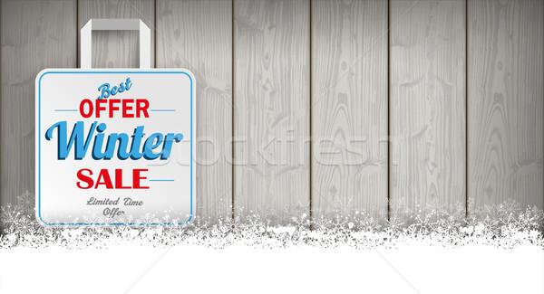 Wooden Laths Winter Sale Shopping Bag Stock photo © limbi007