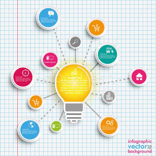 Bulb Circles Network Infographic Checked Paper Stock photo © limbi007