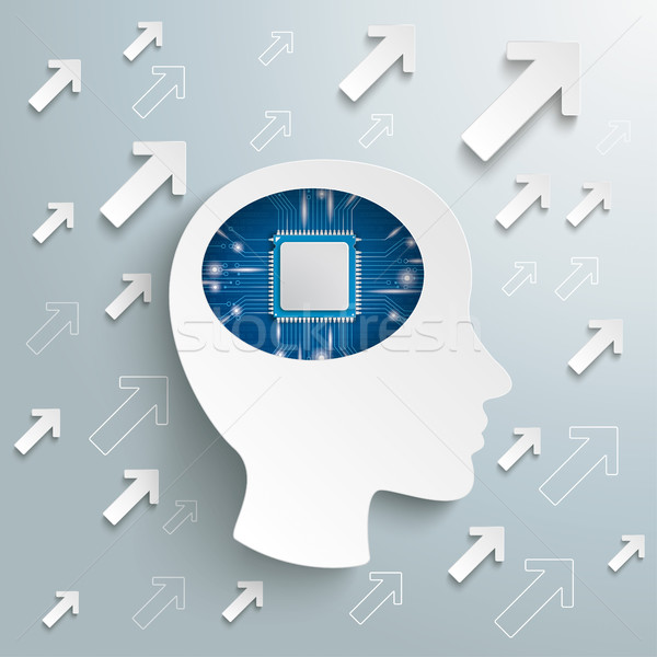Emberi fej agy nyilak mikrocsip siker Stock fotó © limbi007