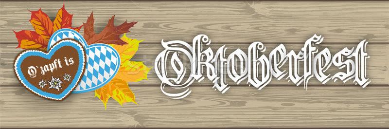 Oktoberfest Header Hearts Ozapftis Foliage Wooden PlanksSH Stock photo © limbi007